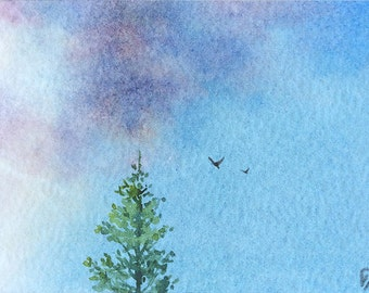 Original ACEO watercolor painting - Changing weather
