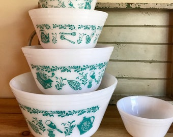 Vintage / Retro / circa- 1960's Federal Glass Company 4 Milk Glass Mixing Bowl Set Nesting Bowls Teal/Turquoise Scandinavian Pattern