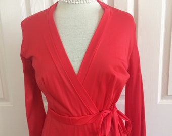 CATTANI of California Robe Negligee Lingerie / Nylon Red Sweep Full Length Small / USA