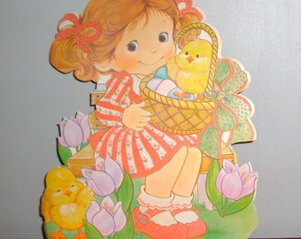 1980's Spring Wall Decor, Flocked Wall Decoration, Die Cut, Easter Basket, Yellow Ducks, Easter Eggs, Holiday Decor, No. 1  (87-14)