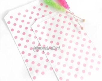 LARGE Pink Polka Dot Favor Bag | (6.25 x 9.25) Pink Stripe bag | Pink and Gold Birthday Party | Popcorn bag | Candy Favpr Bags