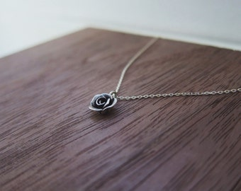 Rose bud necklace sterling silver handmade dainty and delicate silver chain