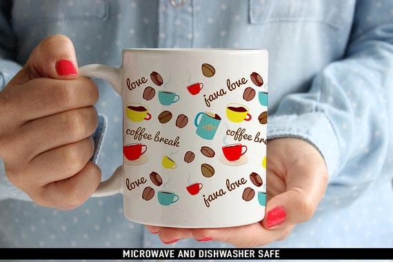 Coffee Mug Java Love I Love Coffee Mug - Cute Coffee Cup with Coffee Beans