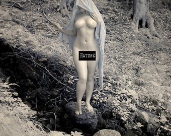 Nude art in nature infrared naked photography in forest fine art photo print - Priestess in Infrared - 03 - MATURE