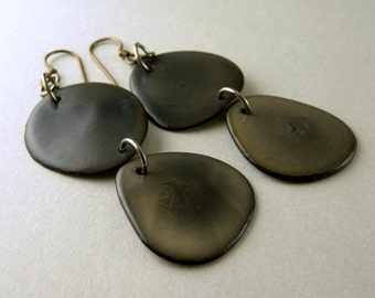 Graphite Gray Ombre Tagua Nut Eco Friendly Earrings with Free USA Shipping #taguanut #ecofriendlyjewelry