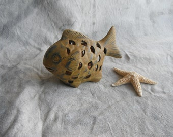 Painted Ceramic Fish Candleholder - Yellow and Blue