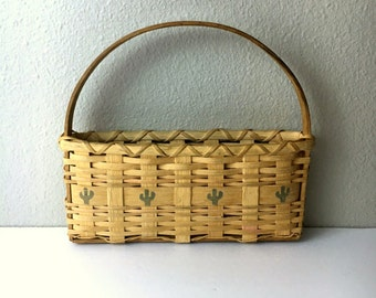 Vintage Wicker Basket with Small Cactus