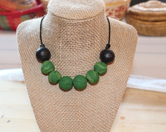 Green black necklace, Eco Friendly handmade clay beads