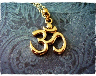 Large Gold Ohm Necklace - Bronze Ohm Pendant on a Delicate 14kt Gold Filled Cable Chain or Charm Only
