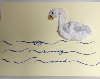 Retirement card - crochet - swan - enjoy swanning around