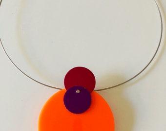 Orange Plexiglass Statement Necklace with Purple, Magenta Aluminum