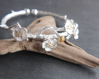 Bracelet Cherry blossom cherry blossom 925 sterling silver Gilded bicolor