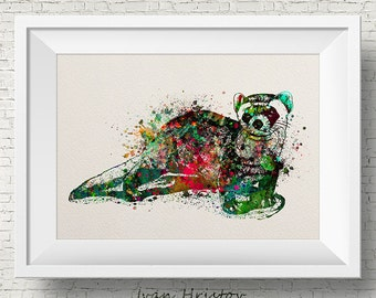 Colorful Ferret Watercolor ferret painting illustration ferret Art Print Wall Gift Poster Giclee Wall Decor Home Decor Wall Hanging