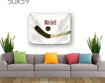 Hockey Tapestry-Personalized Hockey Decor-Tapestry with Grommets-Custom Wall Decor-Ice Hockey Wall Decor-Sports Decor-Ice Hockey Stick-Puck