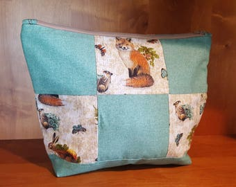 Teal Fox, Bunny, and Woodland Critter Quilted Zipper Pouch, Make-Up and Cosmetic Bag, Travel Bag, Electronic Case, Cord Storage