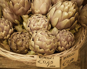 Food Photograhy, Artichoke Photograph Italian Food Photo Kitchen Art Green Basket Cooking Market Home Decor ita107