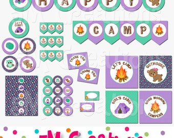 Camping Birthday Party Printable Decorations - Girl Glamping Party - Camp Out Printables - Camp Banner Cupcake Toppers  INSTANT DOWNLOAD pdf