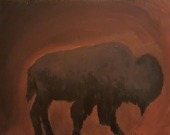 The Lone Buffalo Original Art Wall Art