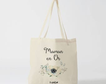 W134Y Tote bag personalized MOM canvas bag Tote, cotton, gold MOM bag, bag for MOM, mother's day, mother gift