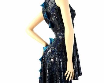 Black Dragon Scale Sleeveless Zipper Hoodie Skater Dress with Dragon Tail Hemline, Turquoise/Black Shattered Glass Spikes & HoodLiner 154198