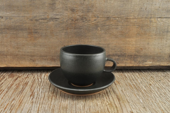 Black satine glaze stoneware coffee / tea cup and saucer