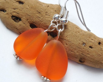 Orange Sea Glass Earrings, Sea Glass Jewelry, Seaglass Earrings, Seaglass Jewelry, Beach Glass Jewelry,Beach Glass Earrings,Beach.Free Ship