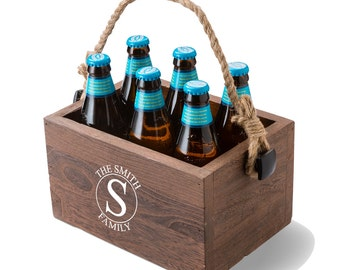 Monogrammed Beer Caddy - Personalized Wood Beer Caddy - Monogrammed Drink Caddy - Gifts for Him - Groomsmen Gifts - Bar Gifts - GC1440