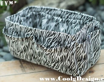 Large Purse ORGANIZER insert, Bag Organizer, Extra Sturdy, Black and White Zebra