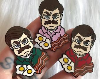 Ron Swanson Eggs n Bacon - Enamel Pin