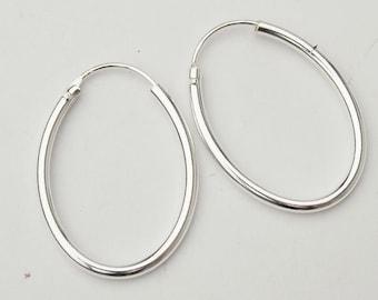 1 pair of 925 Sterling Silver Oval  Hoop Earrings 20x27mm. :er0530
