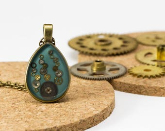 """Tic-Tac"" pendant blue upcycled with clock machines"