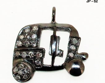40% Sale -- 13 mm Pave Diamond  Tuk tuk Charm , Sterling Silver Charm / Pendant