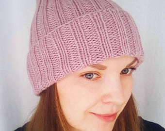 Pink knit hat ribbed hat knit toque pink hat women ribbed hat women knit hat hand knit hat double brim hat powdery hat long ribbed hat
