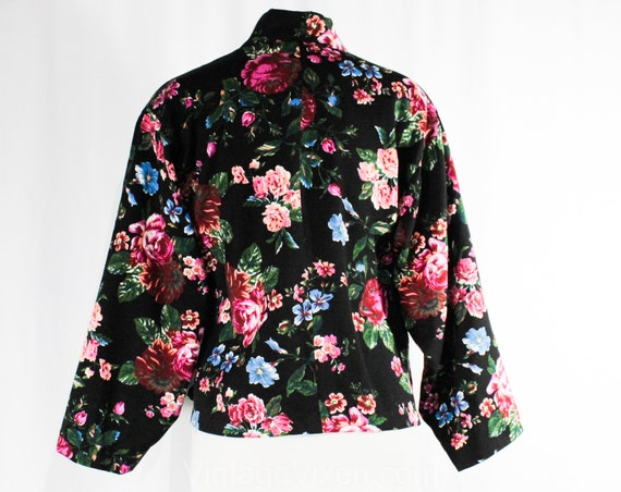Jacket 14 Paris Black Bust Kenzo Size Turquoise 50838 5 Wrap 1980s Burgundy Designer Asian Spring 90s 40 Front Pink Floral Wool Stwfdq