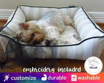 """Classy French Dog Bed or Cat Bed - Small 22"""" x 22"""" - Stripe, Linen, Natural, Black - Custom Made, High Quality, Washable"""