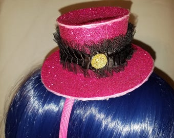 Pink Glittery Mini Top Hat with Black Lace and Tiger Gem