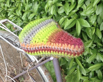 Crochet bike/bicycle seat cover/saddle cover - Green/multi colours - Thick, chunky & soft yarn. Ready to go! Gorgeous! Cycle accessory