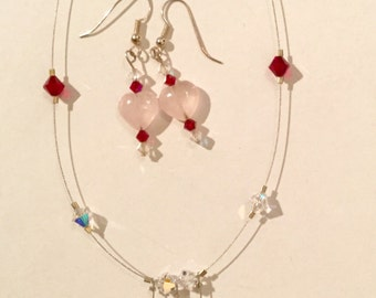 Sterling Silver Rose Quartz and Swarovski Crystal Necklace and Earrings