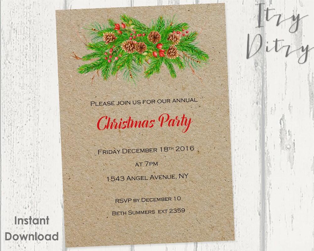 Plantilla de invitaciones de Navidad plantillas de