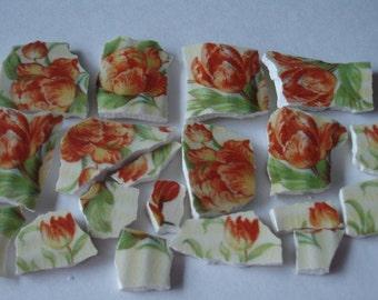 Craft Supplies - w mosaïque carreaux - tulipes - tuiles d'Accent - Orange fleurs jaune Résumé lumières - mosaïque faisant, sculpture, pièces de mosaïque