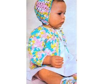 Vintage Crochet Pattern PDF Baby Pram Set Matinee Coat Jacket Cardigan  Bonnet and Booties