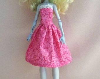 Handmade Monster High Doll Clothes-Pink Cotton Print Monster High Dress