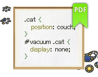 Funny Cat and Vacuum CSS cross stitch pattern. Instant download!