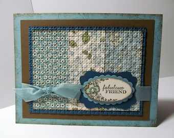 FLORAL FRIENDSHIP Quilted Hand Stamped Greeting Card