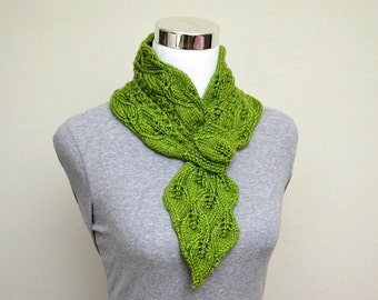 Leaves and Mock Cables Scarf (Keyhole/Ascot/Pull-Through/Vintage/Stay On) Scarf Knitting Pattern