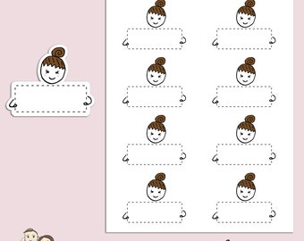 FLOSSIE NOTE BOX | Planner Stickers | Quarter Box | Character | Hand Drawn | Erin Condren | Tn | S337