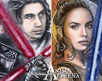 The Dark Side... and the Light - Kylo Ren & Rey - Star Wars Traditional Art Watercolor Paintings - Two ACEO Prints - Hand Signed