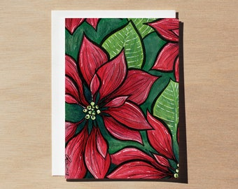 Poinsettia flower, red poinsettia greeting card, Christmas flower, watercolor flower painting, red flowers, Christmas poinsettia, poinsetta