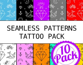Printable Seamless Patterns - Tattoo Pack - Digital Scrapbook Paper