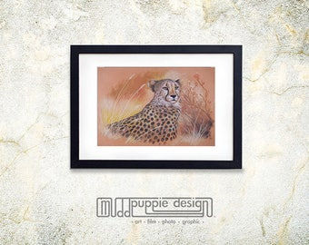 XL WILDLIFE print realistic artwork CHEETAH Chalk Pastel Drawing peach orange black Gift Nature Autumn grass Africa pattern cats